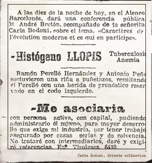 Carla Bodoni en el Ateneo Barcelonés. (La vanguardia. 1922). Pulse para ver la imagen completa