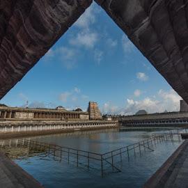 Chidambaram temple tank by Srinivasan Ka - Landscapes Travel ( temple, reflection, god, pool, travel )