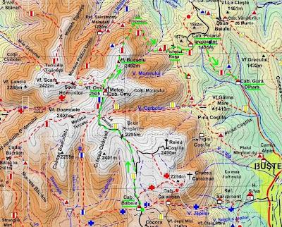 Harta Bucegi: Babele-Omu-Bucsoiu-La Prepeleac-Pichetul Rosu-Poiana Izvoarelor-Gura Diham