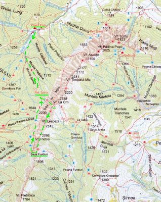 Harta Piatra Craiului, traseu creasta sudica
