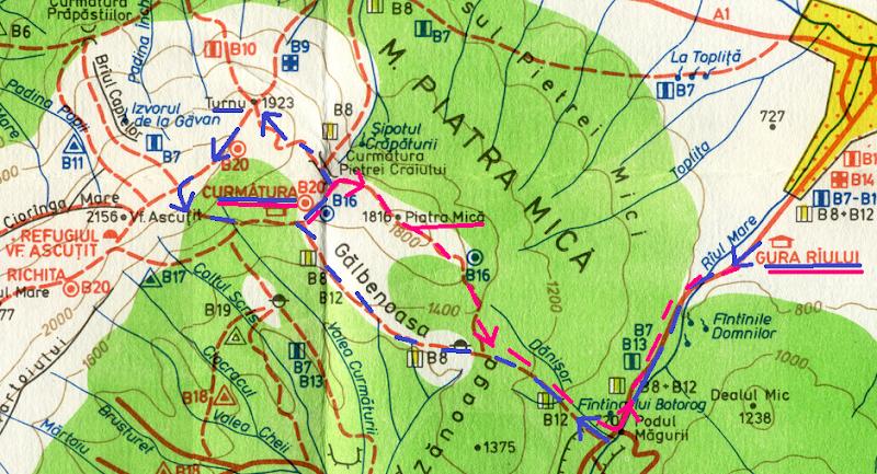 Harta Piatra Craiului. Fragment Curmatura-Turnu-Piatra Mica