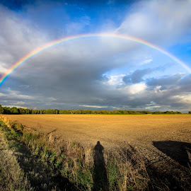 180° by Thomas Stief - Landscapes Prairies, Meadows & Fields ( field, clouds, shadow, sunset, street, rainbow )