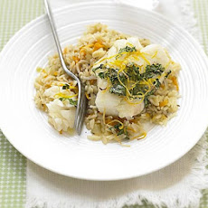 Coriander Cod With Carrot Pilaf