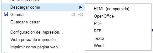 greenshot 2009 10 28 12 56 59 Exportar varios documentos de Google Docs en un mismo formato: te enseñamos a hacerlo en segundos
