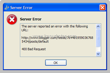 "Pesan Server Error ""400 Bad Request"" di Windows Live Writer"