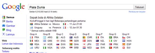 Lihat Jadwal Pertandingan Piala Dunia 2010 di Google