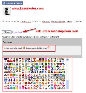 Menambah Ikon / Emoticon di Status Facebook