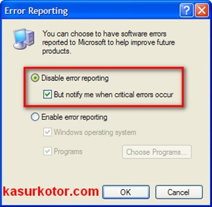 Cara Mematikan Pesan Send Error Report Windows XP ·August 24th, 2010