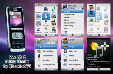 Tema/Theme Mac OS X untuk Handphone Nokia
