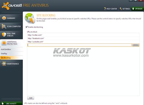 Cara Block/Blokir Situs Website Menggunakan Avast 6 Free Antivirus