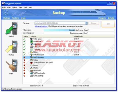 Backup data Handphone/Ponsel Nokia dengan Oksigen Express
