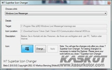 Mengganti Ikon Program di Taskbar Windows 7 - W7 Superbar Icon Changer