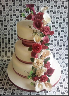 3-tier-Handmade-mixed-flowers-wedding-cake