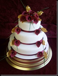 3-tier-Burgundy-Lillies-Wedding-Cake