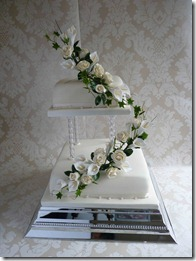 2-tier-Draped-Roses-and-Lillies-wedding-cake