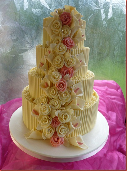 4-tier-cigerellos,-Rose-and-Lillies-wedding-cake