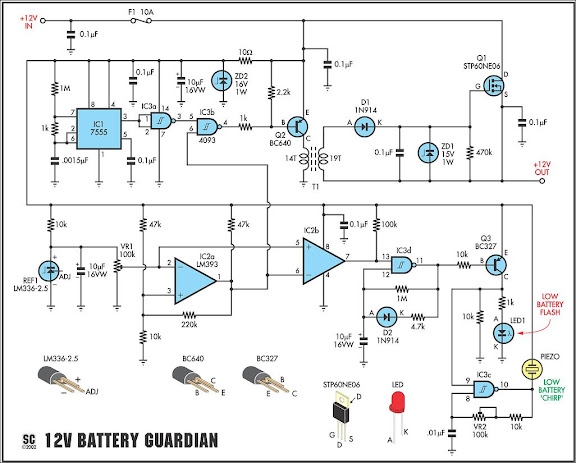 12 Volt Battery Guardian Circuit Diagram