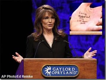 Palin's hand