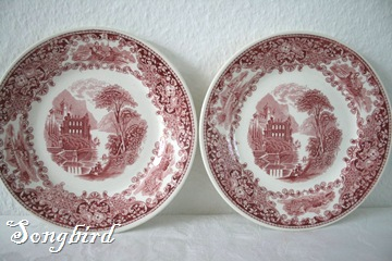 Red transferware plates