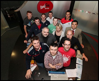 DKane 280610 Repro Free No Charge The red Fm crew with Cork Footballers and Hurlers in the Red FM Studio. Pic Darragh Kane