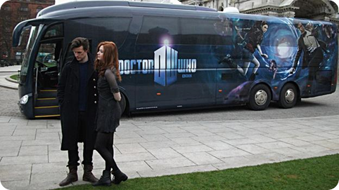 Matt Smith and Karen Gillian at the tour bus