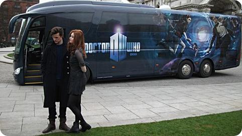 Matt Smith and Karen Gillian at the tour bus