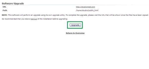 Klik butang upgrade untuk menaik taraf WordPress