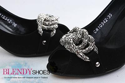 รองเท้าส้นสูง รองเท้าคัทชู สีดำ