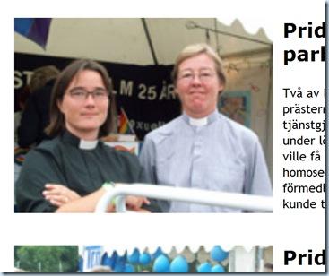 La nueva obispo de la Iglesia Luterana Sueca, Eva Brunne, con su pareja que es mujer sacerdote Gunilla Lindén.