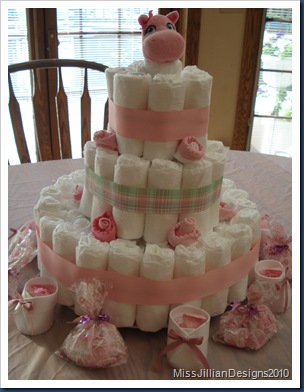 Finished diaper cake - for a girl
