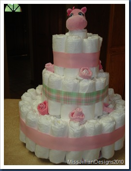 Finished diaper cake - for girl