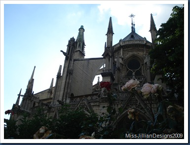 Back of Notre Dame and flowers