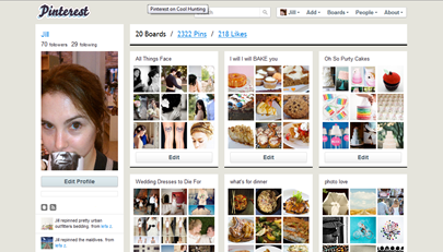 snapshot of my Pinterest profile showing some of my boards