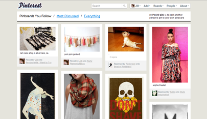 Pinterest homepage with most current pins on Pinterest
