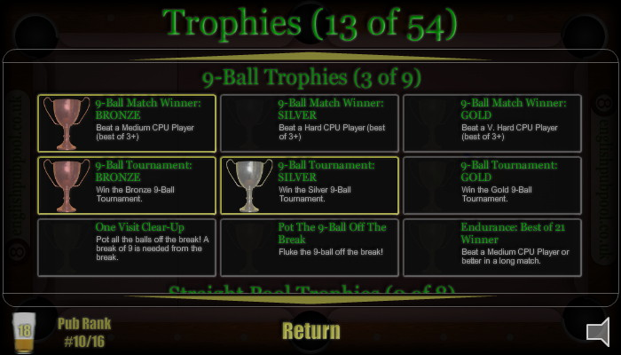 Trophies - American 9-Ball Pool - Screen Shot