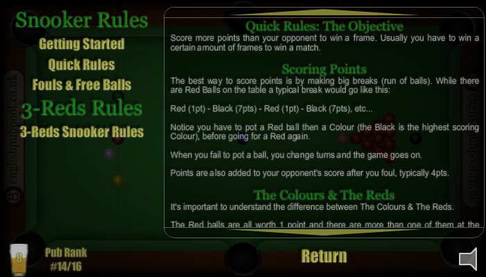 Pub Snooker - Snooker Rules & 3-Reds Snooker Rules