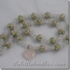 Rose Lime Sweetheart - rose quartz and lime green and pink lampwork bead necklace with rose quartz sweetheart pendant. The toggle clasp in this piece is silver plated. £17.00