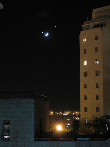 ירח נוגה וצדק בליל השני לדצמבר מעל ירושלים