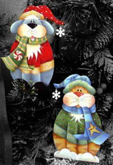 frosty furry friends ornament-set of 2
