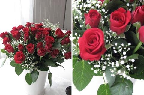 montasje av nydelig blomster jeg fikk i bursdagsgave