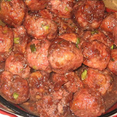 Red Currant-Glazed Ham Meatballs W/Dried Cherries