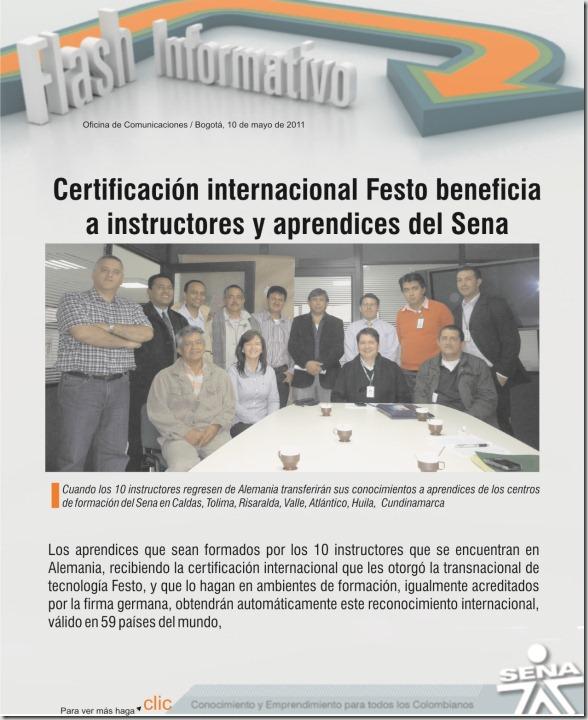 FLASH INFORMATIVO 10 DE MAYO DE 2011 instructores y aprendices