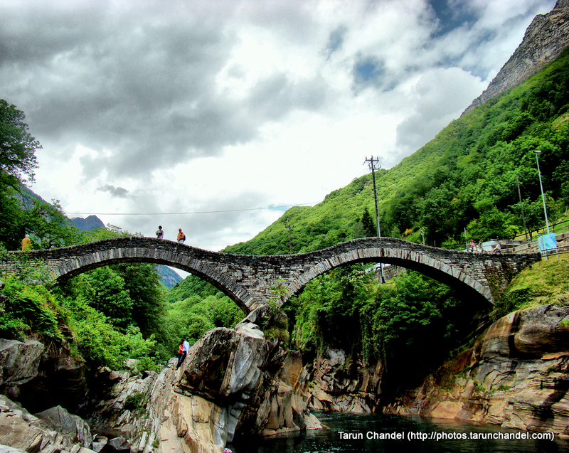 Ancient double arch stone bridge Ponte dei Salti in Lavertezzo Verzasca valley Switzerland, Tarun Chandel Photoblog