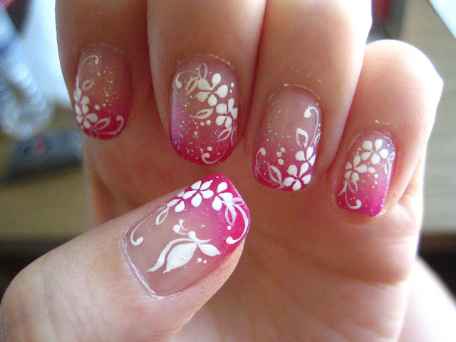 Pink Flowers and Swirl Nail art Design