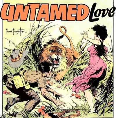 Untamed love Lion attack Frank Frazetta romance comics scans