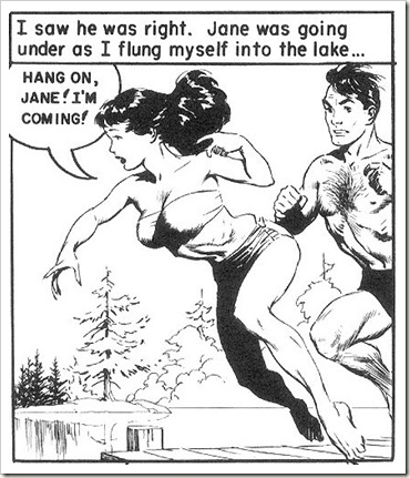 man and woman dive into lake Frank Frazetta romance comics scans