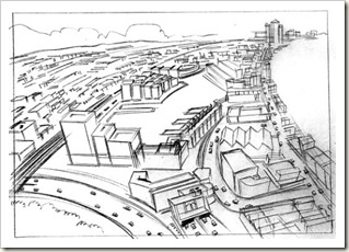 storyboarding panel downshot on city and highway