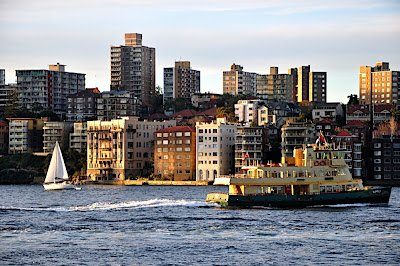 view of Sydney Harbour, skyline and boats