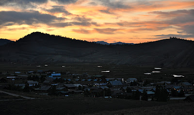 sun setting over the town of Stanley, Idaho