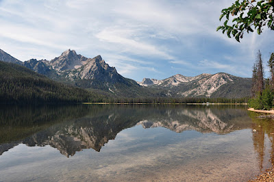 mountains reflected in stanley lake